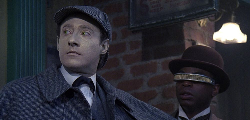 Screen capture of Data as Sherlock Holmes, from a Star Trek: The Next Generation episode